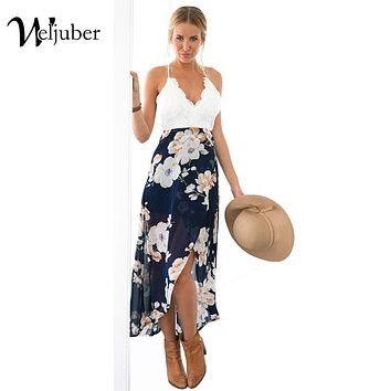 Weljuber Women Lace Dress Bohemian Split Dress Beach Boho Maxi Dress  Summer  Deep V-neck Print Long Dresses