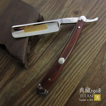 Titan straight razor  wooden handle - stainless steel blade with wooden handle