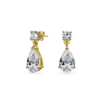 Cubic Zirconia Teardrop Drop Earring 14K Gold Plated Sterling Silver