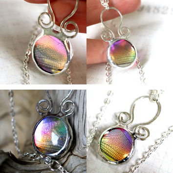 Rainbow Dragonfly Necklace, Real Bug Jewelry, Bug Under Glass, Dichroic Glass Jewelry Handmade, Dragonfly Wing Pendant