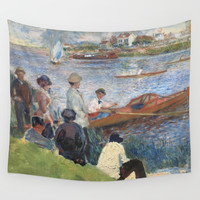 Renoir meets Seurat at the river Wall Tapestry by anipani