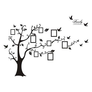 Wall Decals Art Stickers Waterproof Large Size Family Photo Frame Tree and Birds Pattern for Home Kitchen Bedroom Living Room Decor