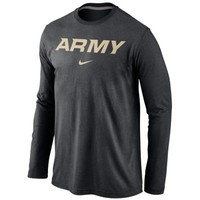 Army Black Knights Nike Wordmark Long Sleeve T-Shirt - Black