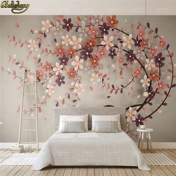beibehang custom Nordic tree flowers Photo Mural Wallpaper For living room decoration Bedroom 3D wall papers home decor Painting