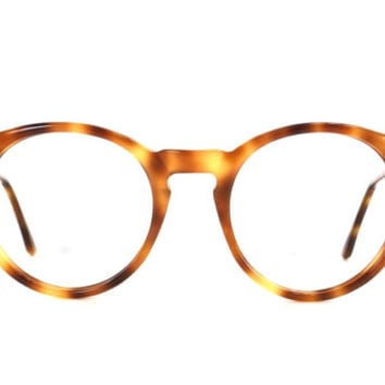 vintage 80s amber tortoise shell brown deadstock round oversize eyeglasses french designer retro frame plastic eye glasses eyewear smart 191