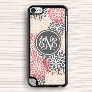 monogram ipod case,light color flower ipod touch 4 case,girl's gift ipod touch 5 case,chrysanthemum ipod 4 case,peony ipod 5 case,art flower touch 4 case,new design touch 5 case