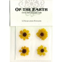 """Sunflower 1"""" Real Pressed Flower Decorating Stickers - pack of 12 - Not Dyed"""