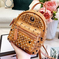 MCM High Quality Women Casual Rivet Mini Daypack School Bag Leather Backpack