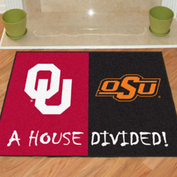 "Oklahoma State - Oklahoma Sooners House Divided Rugs 34""x45"""