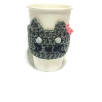 Cat Coffee Sleeve, Pet Lover Gift, Crazy Cat Lady, Animal Crochet Cozy, Travelling Cup,  Cute Tea Warmer, Inexpensive Present, Gift under 10