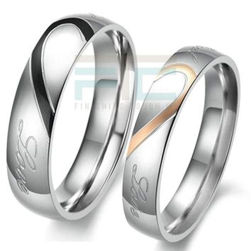 Heart Shape Matching Titanium Promise Rings
