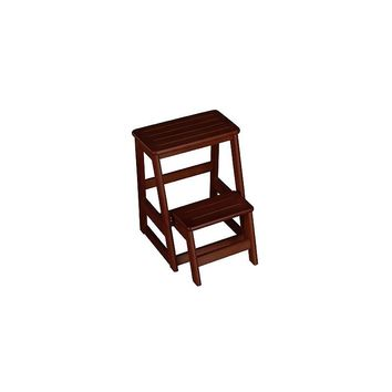 Magnolia Home Folding Compact 2-Step Wood Step Stool (Brown)