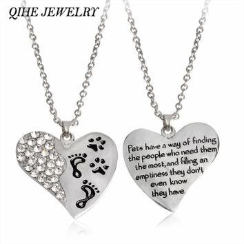 "Cat ""Pets Have A Way..."" Heart With Paw Prints Pendant Necklace Pet Loss Memorial Paw Prints Pet Lover Jewelry"