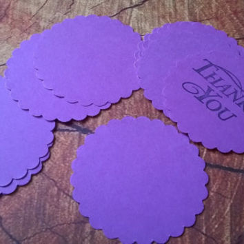 large purple scallop circle Gift Tags with without string hanging round thank you set of 10  blank note memo greeting card cupcake topper