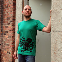 8Bit Octopus men's large t-shirt, 8 bit retro video game shirt, father's day