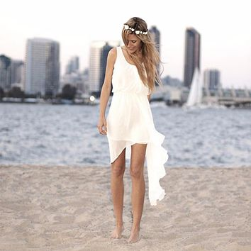 Simple Ivory Chiffon Short Beach Wedding Dresses High Low Wedding Dress Summer Bridal Dresses Tank Wedding Party Gowns PB98