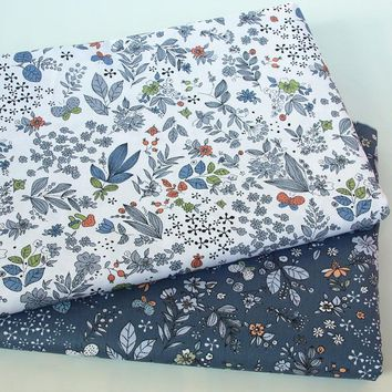 Pretty 50x160cm White Grey All over Leaf Flowers Printed 100% Cotton Fabric For DIY Sewing Quilting Bedding Clothing