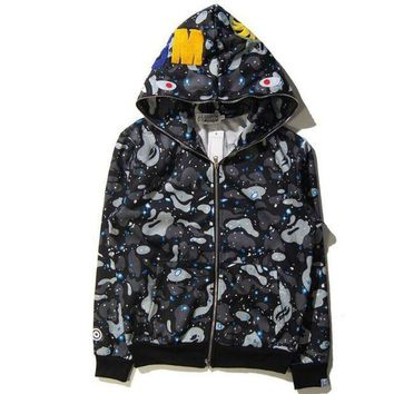DCCK7XP BAPE Women Men Fashion Shark Print Autumn Winter Hoodie Long Sleeve Sweater Top Zipper Coat Jacket