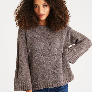 AEO Boxy Side-Zip Sweater, Brown