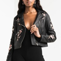 Moto Jacket with Embroidery in Black