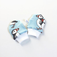 Organic baby scratch mitts. Mittens with cuffs. Shower gift. Blue knit fabric with puffins. Gender neutral no scratch mitts
