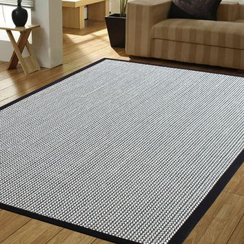 Herringbone Black/Cream Indoor Accent Rug