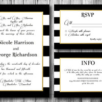 Wedding Invitation Digital Wedding Set Invitations Black and White B&W Stripes Sparkle Gold Elegant Chic Bridal Invite DIY Invites Printable