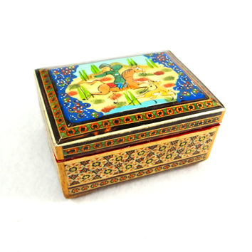 Inlaid Wood MarquetryTrinket Box with Enameled Hand Painted Lid
