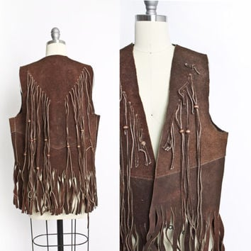 Vintage 1960s FRINGE Leather Vest - Brown Suede Hippie Boho Top - 60s / 70s Medium