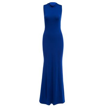 Sexy Round Collar Sleeveless Back Bandage Hollow Out Bodycon Pure Color Maxi Dress for Women