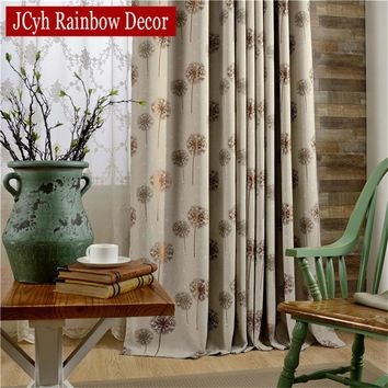 Modern Dandelion Foral Window Blackout Curtains For Living Room Bedroom Embroidered Kitchen Curtains Blind Gray Curtains Drapes