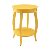 Yellow Round Occasional Table Shelf