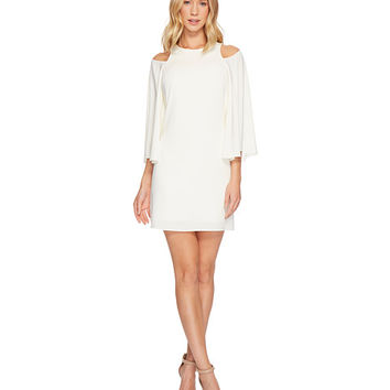 Halston Heritage Bell Sleeve Shift Dress w/ Cut Outs
