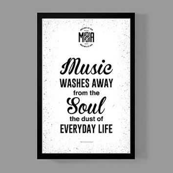 Art print home decor - Music washes away from  the soul Quote Poster - Distressed Typographic Print - Berthold Auerback