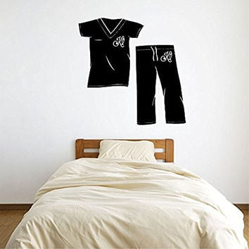 Nurse Scrubs Top and Bottom with Stethoscope Monogram Initial Letter Vinyl Wall Words Decal Sticker Graphic