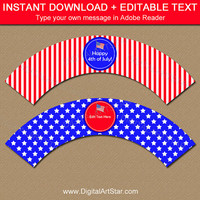 Patriotic Cupcake Wrappers - 4th of July Party Decor - July 4th Cupcake Wrappers - Memorial Day Cupcake Decorations Patriotic Birthday Decor