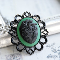 Black anatomical heart cameo necklace