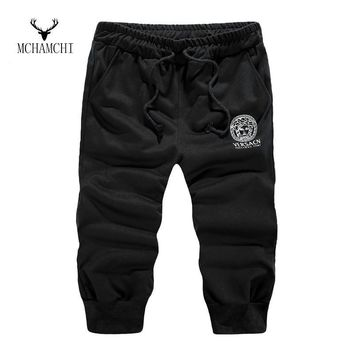 MCHAMCHI 2017 New Fashion Men's Cropped Trousers Joggers Hip Hop Harem Dance Baggy Fitness Casual Elastic Pants Sweatpants M-3XL