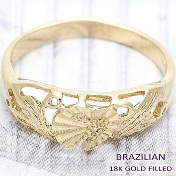 Gold Layered Women Shell Elegant Ring, by Folks Jewelry