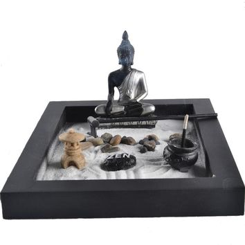 Meditation Zen Garden Sand Decor Kit Tea Light Incense Burner Relax The Brain