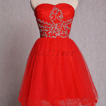 Short Red Sweetheart Organza Prom Dresses,Short Sweetheart Beaded Bridesmaid Dresses,Short Homecoming Dresses,Red Cocktail Dresses