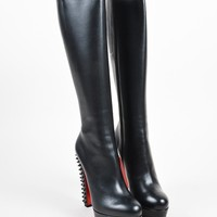 ONETOW Christian Louboutin Black Leather Spike  Taclou Botta 140  Boots