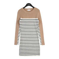 Striped Dress with Colored Top