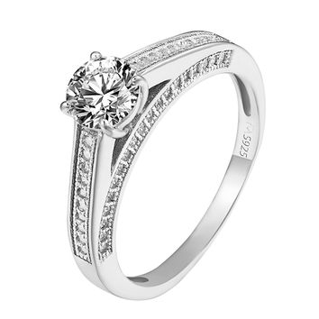 Womens Ladies 925 Sterling Silver Solitaire Cubic CZ Wedding Promise Ring