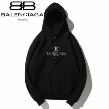 Balenciaga Tide brand classic double B letter printing men and women loose plus velvet hoodie Black