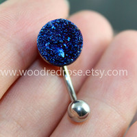 Druzy Belly Button Jewelry,Blue druzy belly ring,Druzy Crystal Pyrite Cluster Navel Piercing Ring Stud Piercing