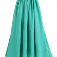 Vintage Green Full Pleated Maxi Chiffon Skirt with High Waist