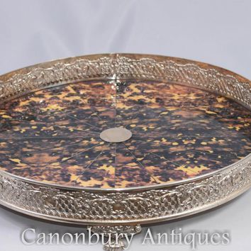 Canonbury - Victorian Silver Plate Serving Tray Faux Tort