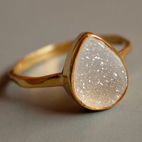 Druzy Ring White Agate Druzy Teardrop Shape Stacking by OhKuol