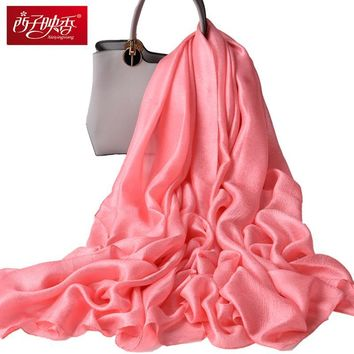 2018 Spring Silk Scarves OverSize Solid Women Wraps Female Bandana Long Satin Scarves Shawls Beach Cover-up Hijabs Scarf